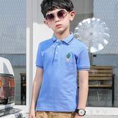 男童短袖t恤兒童夏裝中大童翻領體恤小男孩童裝純棉POLO衫有領潮 QG28828『優童屋』