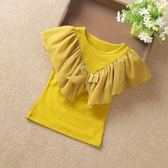 夏款童裝正韓女童短袖T恤兒童女寶寶棉質半袖打底衫蝴蝶結上衣禮物限時八九折