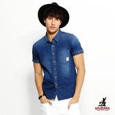 SISJEANS-深藍點點修身短袖牛仔襯衫【16174005】