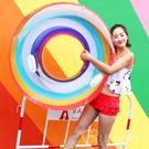 彩虹泳圈 半透明 120CM 帶手把 造型泳具 大型泳圈 浮板 充氣玩具 直播小物 游泳圈