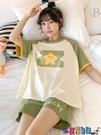 家居服 短袖居家睡衣女純棉薄款韓版學生夏天可愛星星休閒套裝家居服夏季寶貝計畫 上新