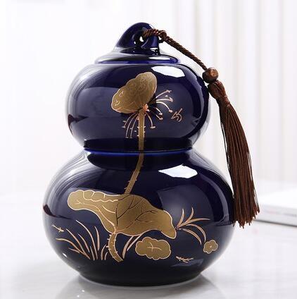 茶葉罐 祿陶瓷葫蘆茶葉罐中大號普洱花紅綠茶葉包禮盒裝密封罐定制【快速出貨八折搶購】