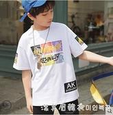 男童t恤白兒童短袖 潮牌中大童2021夏季純棉半袖夏裝嘻哈童裝丅恤 美眉新品