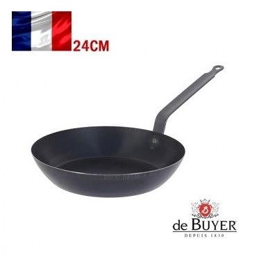 法國【de Buyer】畢耶鍋具『原礦里昂系列』平底極輕炒鍋24cm