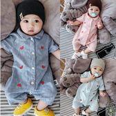 連身裝 嬰兒連身衣夏季短袖開衫爬服新生兒寶寶滿月周歲外出服夏裝包屁衣 3色
