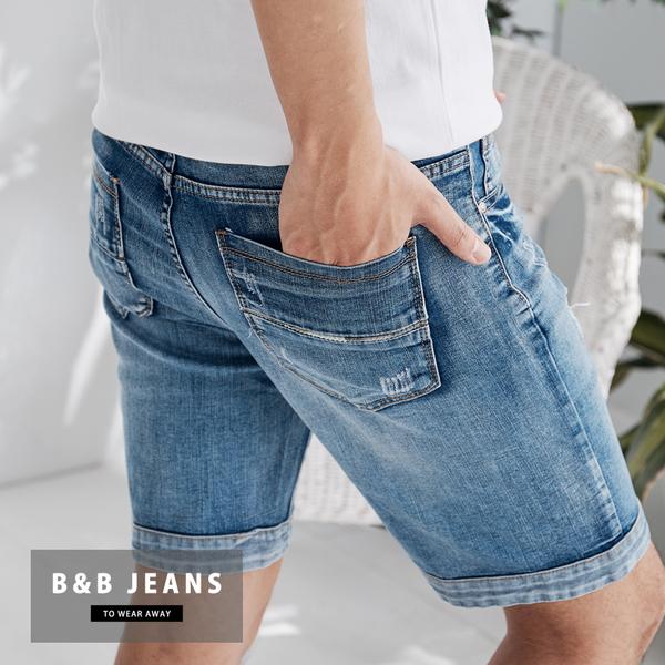 湛藍英文印刷牛仔短褲