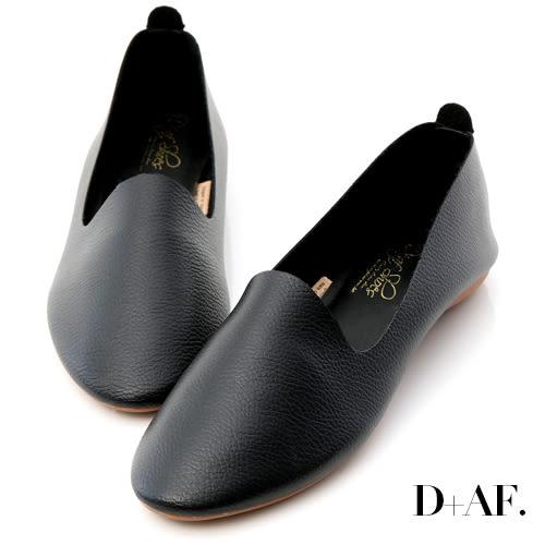 D+AF 輕盈首選.超軟皮革豆豆底樂福鞋*黑