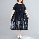 依多多 連身裙 寬鬆大碼圓領不規則圖案刺繡拼接顯瘦減齡中長款連身裙