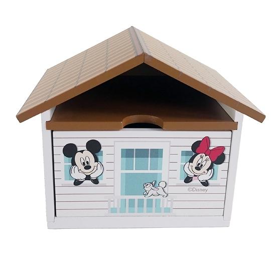 小禮堂 迪士尼 米奇米妮 屋型木質單抽收納盒 木抽屜盒 飾品盒 可堆疊 (棕) 4710374-19175