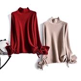 特賣亮絲打底衫金蔥亮絲 下擺飄帶2020高領加厚毛衣女寬松外穿 純色針織打底羊毛衫