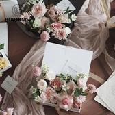 貝影 長方形印字禮盒鮮花包裝盒插花盒伴手禮盒禮袋賀卡套裝