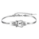 《QBOX 》FASHION 飾品【B21N1145】 精緻潮流簡約皮帶扣設計軟式鈦鋼手鐲/手環