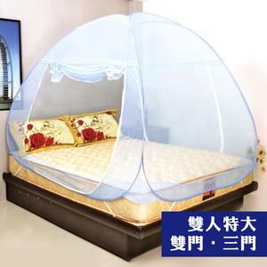 【LASSLEY】彈開式蒙古包蚊帳-雙人床加大款(防蚊 蚊帳 秒開)藍色(雙門)