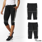 adidas 七分褲 Gym 3/4 Pant 黑 白 三條線 女款 運動褲 【PUMP306】 AJ4857
