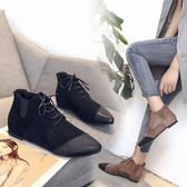 短靴 英倫風女鞋春季新款拼色系帶小皮鞋深口單鞋尖頭平底女鞋短靴  魔法鞋櫃