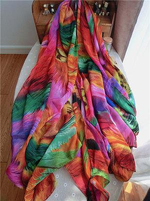 炫色彩虹油畫流蘇雪紡圍巾 女士大方巾絲巾沙灘巾披肩