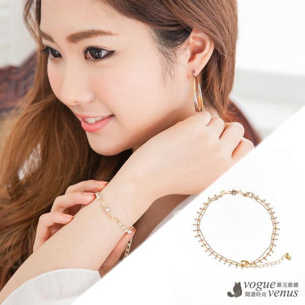 情之所歸,愛不釋手鑲鑽花綴白珠韓系手環 - 維克維娜
