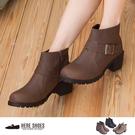 [Here Shoes]3色 嚴選熱賣皮革素面金屬扣環拉鍊低跟粗跟小短靴 工程靴 ◆MIT台灣製─KGW9358