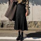 Qmigirl 高腰顯瘦壓褶半身裙毛呢裙子 長裙 【T1060】