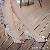 粗跟鞋甜美蝴蝶結媽媽鞋子魚嘴單鞋女粗跟高跟鞋中跟女士皮鞋 全館免運