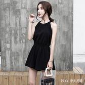 中大尺碼 連身褲夏季新款簡潔時髦黑色無袖寬鬆收腰韓版顯瘦闊腿褲連洋裝 ic2030【Pink中大尺碼】