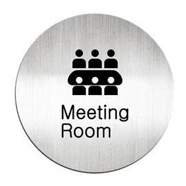 迪多Deflect-o 鋁質圓形貼牌-英文Meeting Room會議室612810C