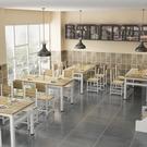 餐桌快餐桌椅小吃店桌椅組合飯店餐館食堂商用工廠長方形家用吃飯桌【快速出貨八折下殺】