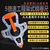 30M/50M塑料架子五倍速手搖式防水塑鋼卷尺工程測量尺插地尺 全館新品85折