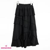 【SHOWCASE】韓版細褶不規則層次顯瘦中長裙(黑)