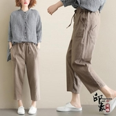 亞麻褲子女寬鬆大尺碼哈倫褲 鬆緊腰系帶九分褲‧復古‧衣閣