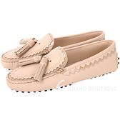 TOD'S 流蘇綴飾拼接鋸齒豆豆鞋(女鞋/粉膚色) 1740460-39