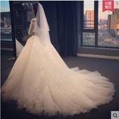 2017新款韓式長拖尾蕾絲一字肩齊地新娘婚紗禮服YY1851『毛菇小象』