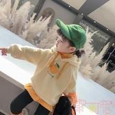 女童加絨連帽衛衣韓版兒童寬松套頭絨衫上衣【聚可愛】