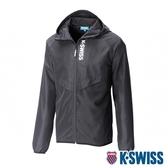 K-SWISS Solid Track Jacket 防曬抗UV風衣外套-男-黑