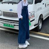 秋裝韓版復古港味繫帶牛仔背帶褲女寬鬆高腰顯瘦減齡學生闊腿長褲
