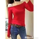 紅色打底衫女薄款春季女裝內搭一字領露肩上衣性感緊身長袖t恤女 聖誕節全館免運