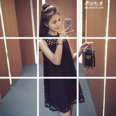 韓版鏤空無袖連身裙女裝純色寬鬆圓領a字短裙子 伊莎公主
