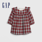 Gap女嬰兒柔軟荷葉邊格紋長袖洋裝513766-紅白格子