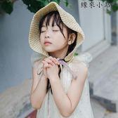 絲帶手工網兜兒童親子女童遮陽帽