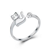 925純銀戒指 鑲鑽-可愛貓咪生日母親節禮物女配件73an9【巴黎精品】