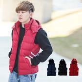 背心 韓國製運動風雙線條連帽鋪棉背心外套【NB0394J】