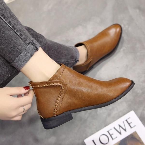 秋冬馬丁靴女英倫風百搭短靴平底正韓踝靴復古靴子及裸靴