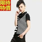 女POLO衫純棉短袖上衣-黑白條紋個性女短t67y53【巴黎精品】