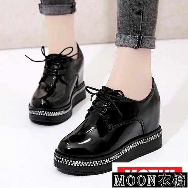 小皮鞋女 內增高小皮鞋女厚底鬆糕鞋季潮新款正韓百搭CHI 快速出貨