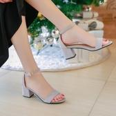 夏季新款中跟涼鞋女韓版百搭高跟鞋女士粗跟一字扣帶小碼女鞋 蘑菇街小屋