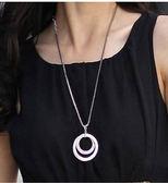 韓國 鎖骨鍊 W27韓版飾品 OL時尚 氣質鑲鉆銀色圓形長款項鏈 毛衣鏈 女