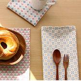 小清新時尚可愛幾何圖案插畫餐墊 墊布 蓋布 (四入)