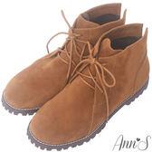 Ann'S率性風格-後V綁帶圓頭平底短靴-棕