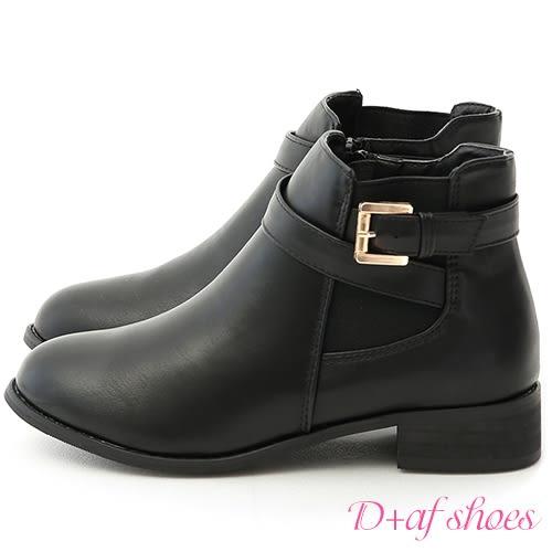 靴子 D+AF 個性首選.側鬆緊金屬釦環繞帶短靴*黑