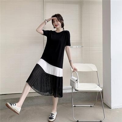 大碼洋裝休閒裙子女裝時尚雪紡拼接寬松遮肚長裙FF12韓衣裳